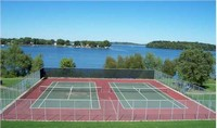 Tennis Courts Overlooking Lake
